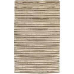 Hand-crafted Beige Stripe Fairbanks Wool Rug (8' x 11')