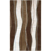Hand-knotted Contemporary Brown/White Stripe Juneau New Zealand Wool Area Rug - 8' x 11'