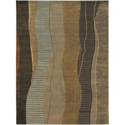 Hand-knotted Green Stripe Contemporary Haven Wool Abstract Area Rug - 8' x 11' - Thumbnail 0