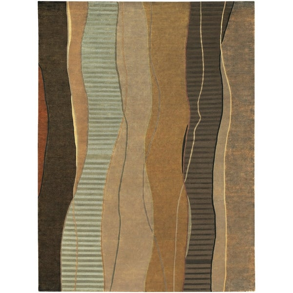 Hand-knotted Green Stripe Contemporary Haven Wool Abstract Area Rug - 8' X 11'
