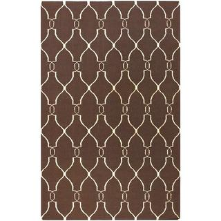 Hand-woven Providence Brown Flatweave Wool Rug (5' x 8')
