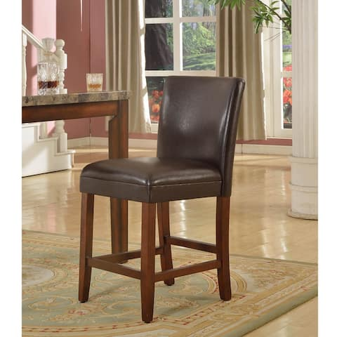 24-inch Luxury Brown Faux Leather Barstool - 24 inches