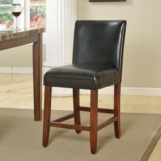 24-inch Luxury Brown Faux Leather Barstool - N/A
