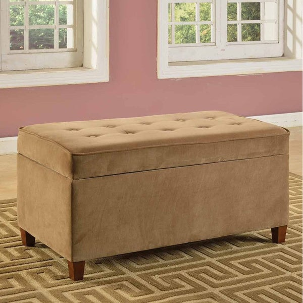 Golden Brown Micro-Suede Storage Bench