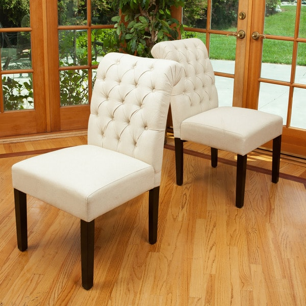 dinah roll top ivory fabric dining chair set of 2 by christopher knight home - Fabric Dining Chairs