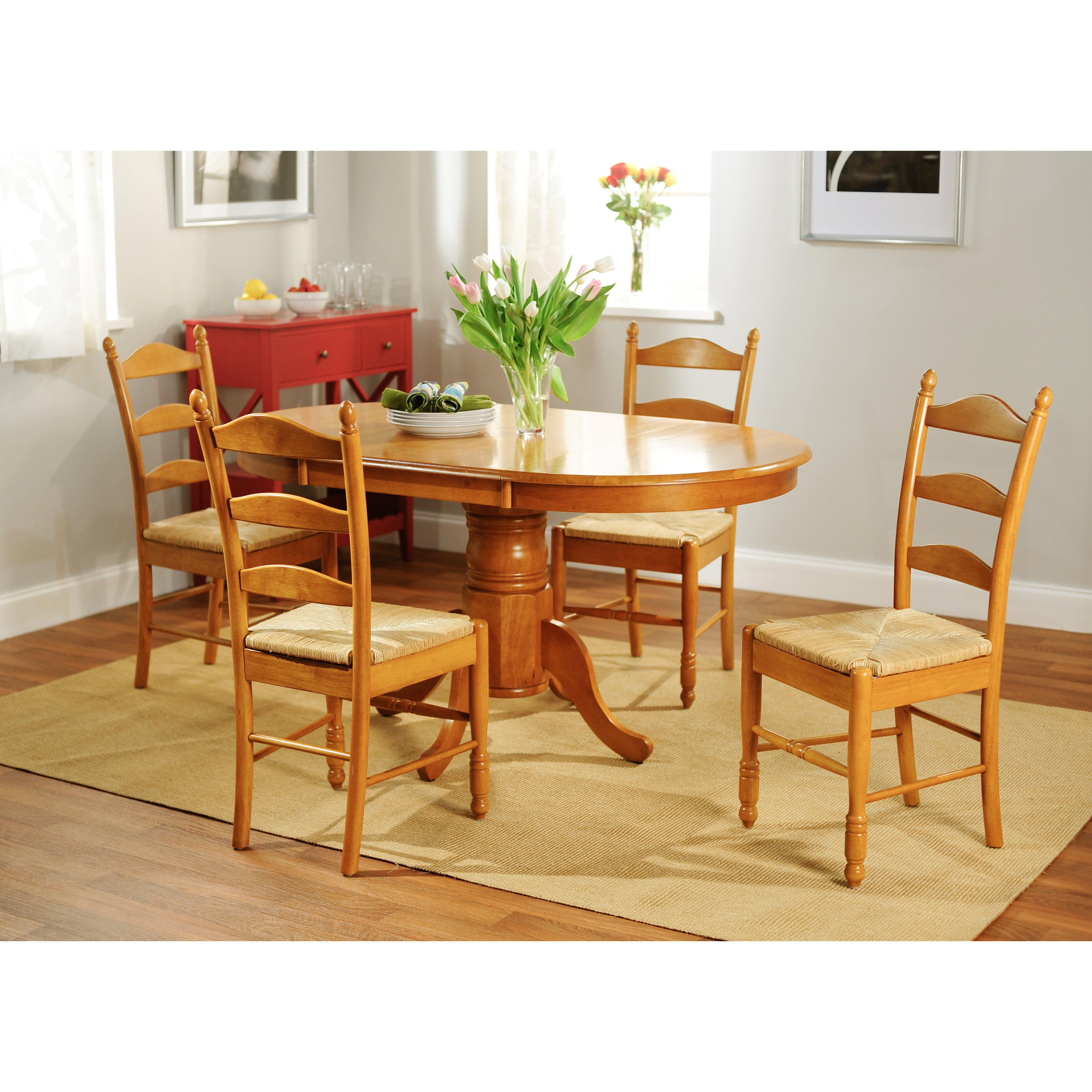 Country Kitchen Dining Set: Shop Simple Living Oak Finish 5-piece Ladderback Dining
