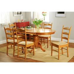 simple living oak finish 7 piece ladderback dining set. Interior Design Ideas. Home Design Ideas
