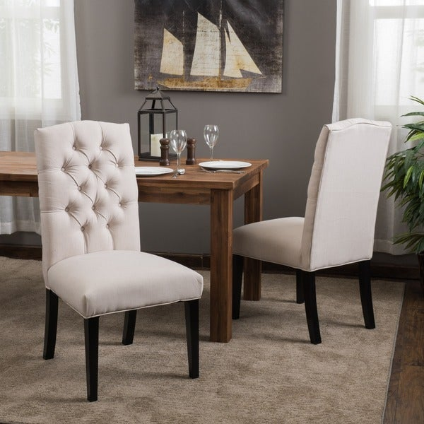 Crown fabric off white dining chairs set of 2 by for White fabric dining chairs