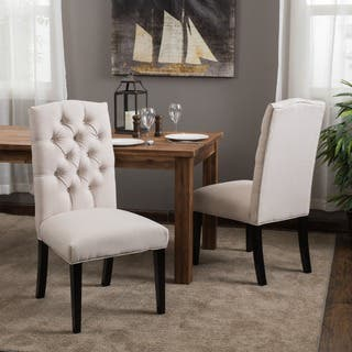 Crown Fabric Off-white Dining Chairs (Set of 2) by Christopher Knight Home|https://ak1.ostkcdn.com/images/products/6036756/P13716567.jpg?impolicy=medium