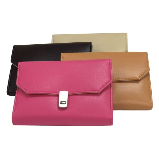Morelle Leather Suedene-lined Jewelry Clutch with Storage Compartments