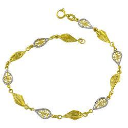 Fremada 14k Two-tone Gold Filigree Leaf Bracelet