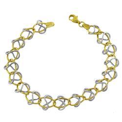 Fremada 14k Two-tone Gold Oval and Twist Link Bracelet
