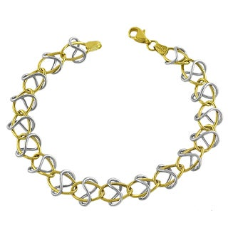 Fremada 14k Two-tone Gold Oval and Twist Link Bracelet