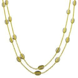 Fremada 14k Two-tone Gold Bean Station Necklace