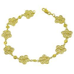 Fremada 14k Yellow Gold Diamond-cut Flower Link Bracelet