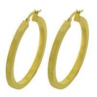 Fremada 14k Yellow Gold 37-mm Textured Flat Hoop Earrings