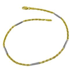Fremada 14k Two-tone Gold Bar and Greek Key Link Anklet