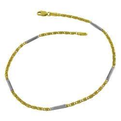 Fremada 14k Two-tone Gold Bar and Greek Key Link Anklet