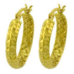 Fremada 14k Yellow Gold 20-mm Diamond-cut Hoop Earrings