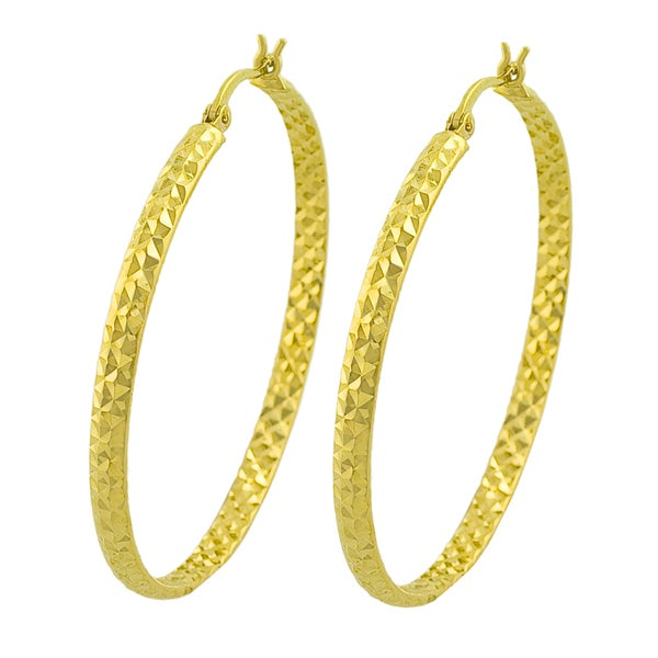 Fremada 14k Yellow Gold 40 Mm Diamond Cut Hoop Earrings