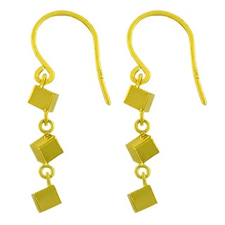 Fremada 14k Yellow Gold 3-cube Dangle Earrings