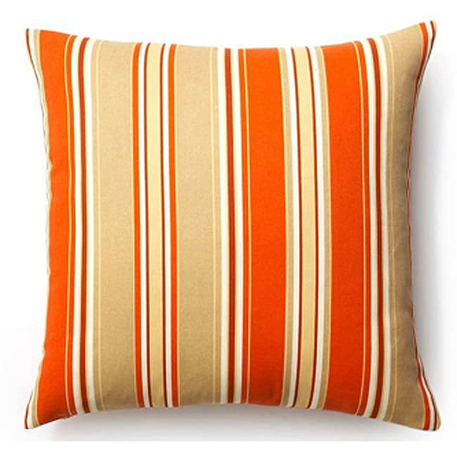 Orange 20x20-inch Thick Stripes Outdoor Pillow - Thumbnail 0
