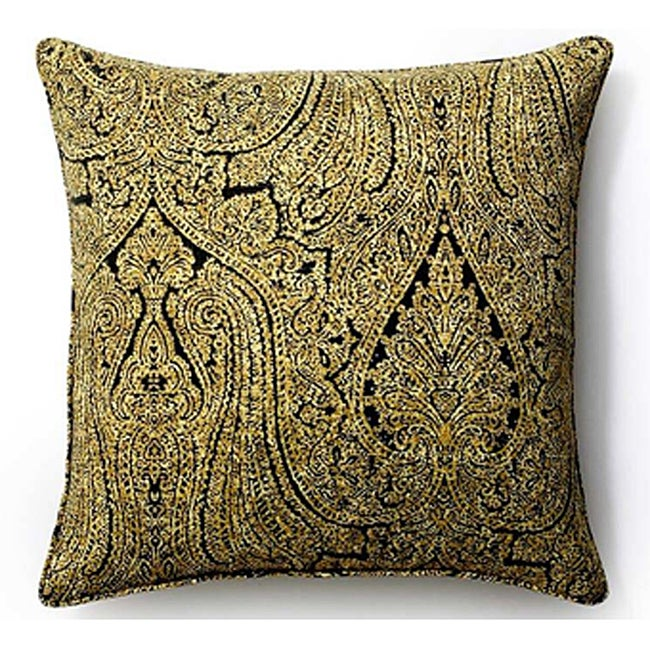 Ebony Paisley Outdoor 20x20-inch  Pillow