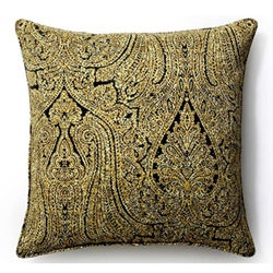 Ebony Paisley Outdoor 20x20-inch  Pillow - Thumbnail 1