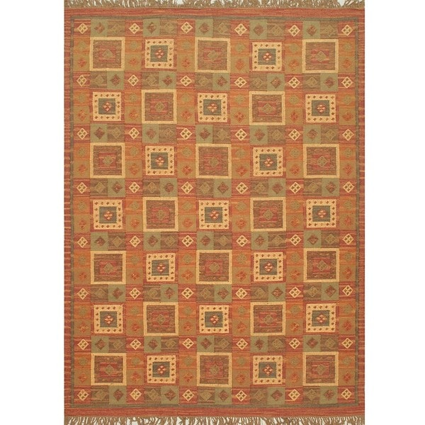 Hand-woven Palas Aydin Kilim Brown Wool Rug (8' x 11')