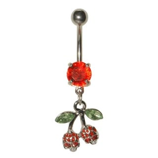 Supreme Jewelry 14G Gemmed Cherry Skull Belly Ring