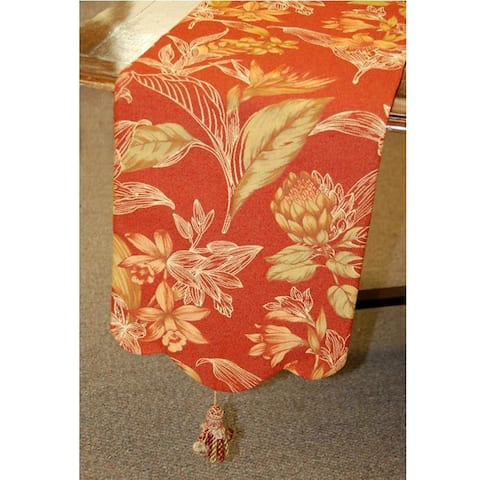 Corona Decor Floral 70-inch Table Runner with Tassels