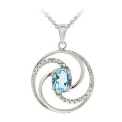 Glitzy Rocks Sterling Silver Blue Topaz and Diamond Circle Necklace