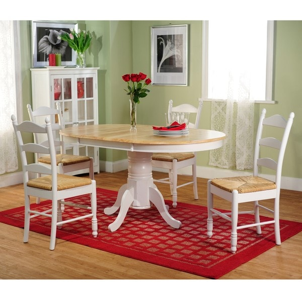 Simple Living White Wood and Rush 5-piece Ladderback Dining Set