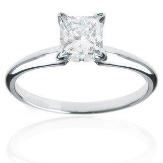 Montebello 14kt White Gold 1ct TDW Princess Diamond Solitaire Ring (J-K, I2-I3)