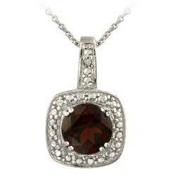 Glitzy Rocks Sterling Silver Garnet and Diamond Accent Necklace