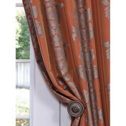 Exclusive Fabrics Ralston Printed Rust Faux Silk 120-inch Curtain Panel