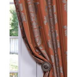 Exclusive Fabrics Ralston Printed Rust Faux Silk 108-inch Curtain Panel
