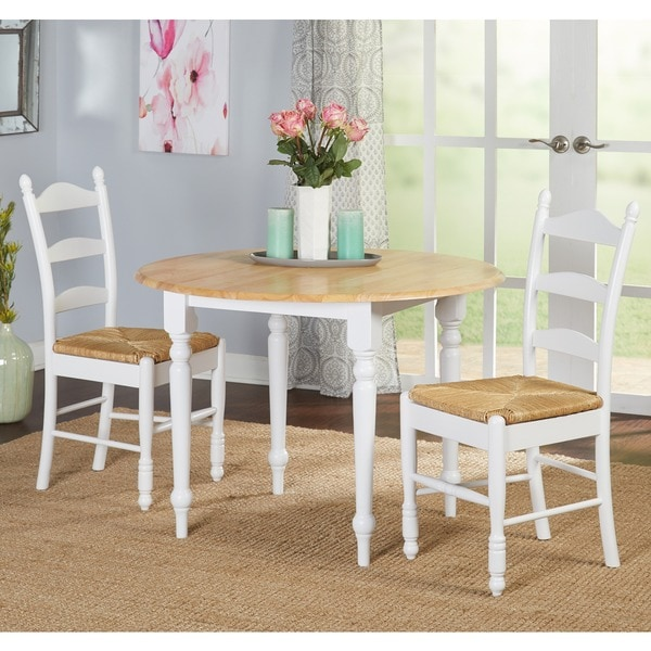 White Wood Dining Set: Shop Simple Living White Wood And Rush 3-piece Ladderback