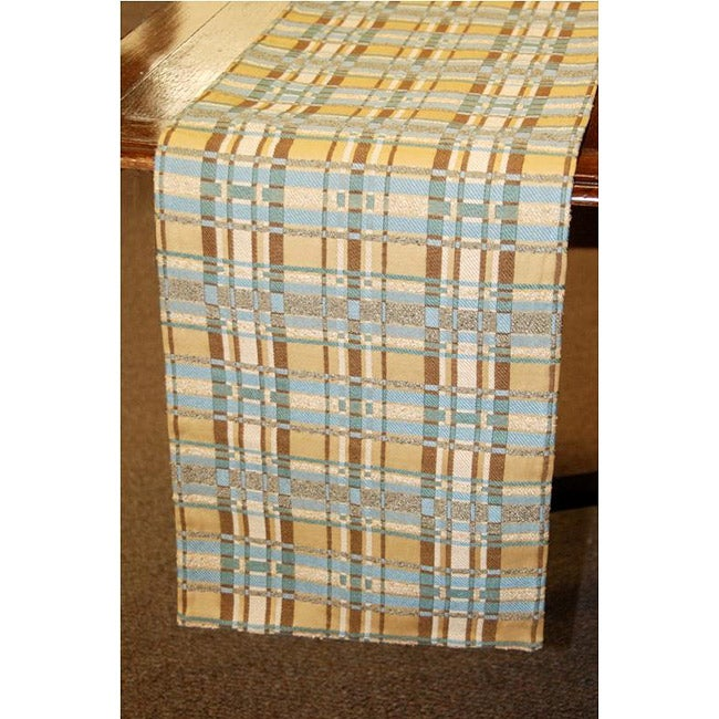 Corona Decor Italian Plaid Woven 70-inch Table Runner