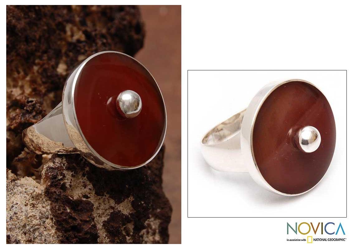 Handcrafted Sterling Silver 'Bright Nature' Carnelian Ring (Peru)