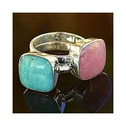 Set of 2 Handmade Sterling Silver 'Duality' Amazonite Rings (Peru)