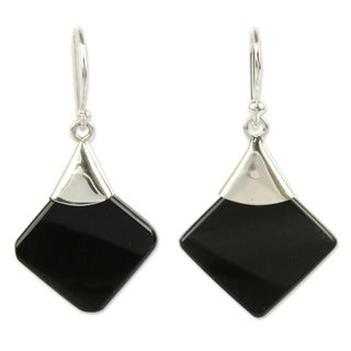 Handmade Sterling Silver 'Synthesis' Obsidian Earrings (Peru)