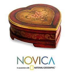Handcrafted Cedar Wood 'Timeless Love' Jewelry Box (Peru)