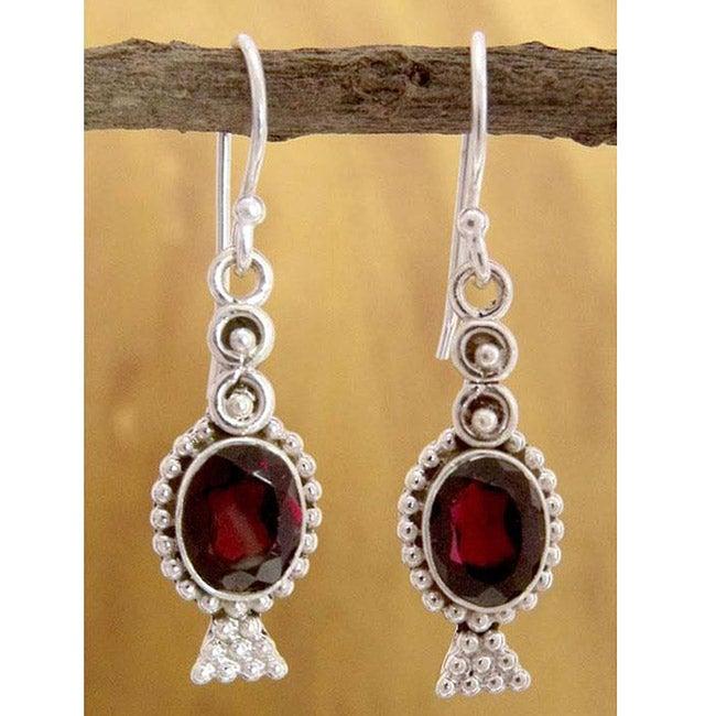 Sterling Silver 'Light of Love' Garnet Dangle Earrings (India)