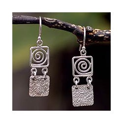 Handmade Sterling Silver 'Energy' Dangle Earrings (Peru)