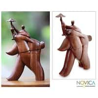 Handmade Suar Wood 'Guardian Umbrella' Sculpture (Indonesia)