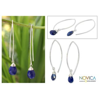Handmade Sterling Silver 'Sublime' Lapis Lazuli Earrings (Thailand)