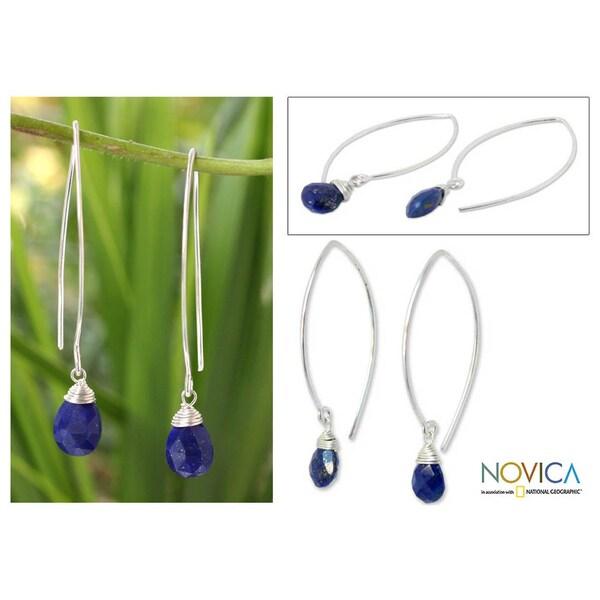 Handmade Sterling Silver 'Sublime' Lapis Lazuli Earrings (Thailand)
