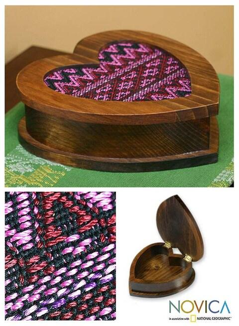 Handmade Wood 'Heart of Rose' Cotton Jewelry Box (Guatemala)