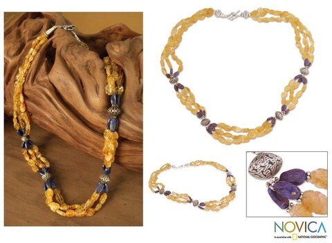 Handmade Sterling Silver 'Sunny Sky' Citrine and Lapis Long Necklace (India)
